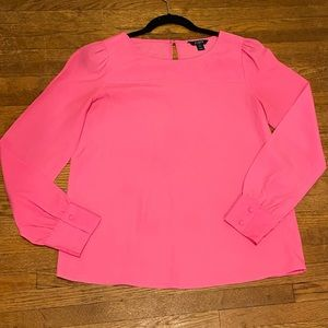 J CREW HOT PINK LONG SLEEVE BLOUSE